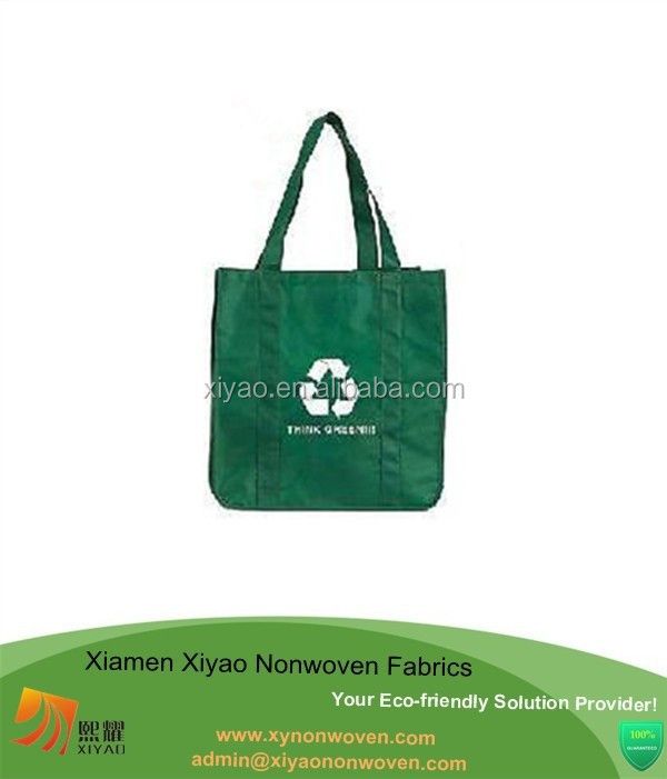 "Non Woven green grocery tote shopping Bag Eco Friend 13""W x 15""H x 8""G"