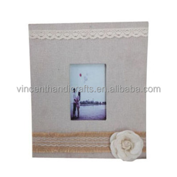 Handmade nice fabric flower and lace decoration fabric photo frame for girl