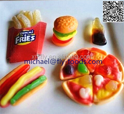 individual packed fast food Hamburger,PIZZA ,HOT DOG series gummy candies