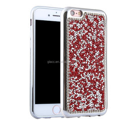 Shiny Bling Glitter Handcraft Crystal Hard Plastic Plated Slim Case Cover Full Cover Protective Case for Iphone 5/5s/6/6s