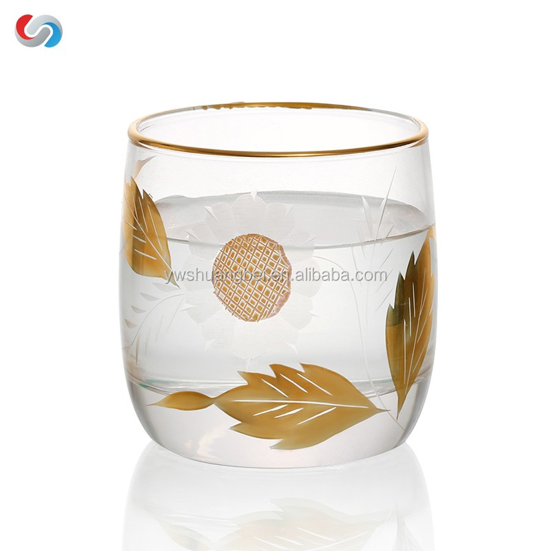 Stemless Golden Line Gold Rimmed Tea Cup/ Wine Glass- Unique Drinking Glasses, Drinkware Essentials, Wine Tumbler
