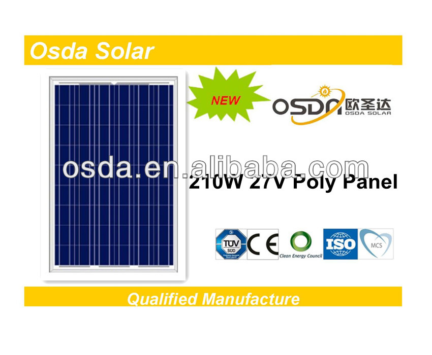 TUV MCS CEC certificated poly solar panel 210W solar panel