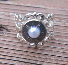 38 Special Bullet Ring with White Pearl Accent,Bullet Jewelry