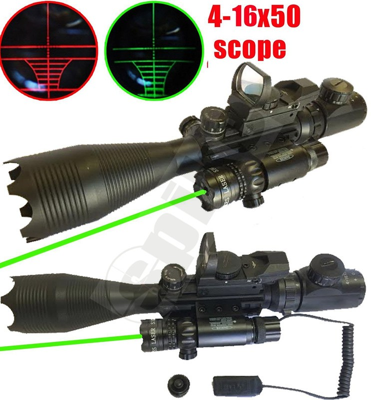 SPIKE Tactical Rifle Scope 4-16x50EG Dual Illuminated with Green Laser and Red Dot Sight