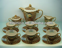 European royal household coffee set, Luxury porcelain tea set, Leopard pattern(BS3969-1992-23.5)