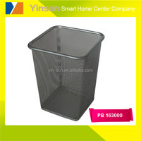 Square metal dust bin, iron wire mesh waste basket for paper