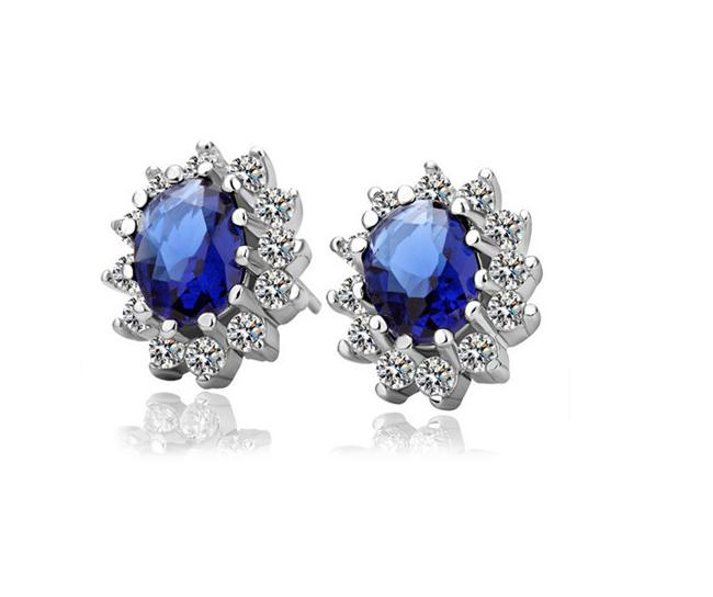 Best Selling 925 Sterling Silver Blue Sapphire Stone Stud Earrings for Mother 's Day