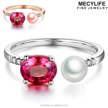 MECYLIFE Ruby Stone Fashion Natural Pearl Opened S925 Women's Ring