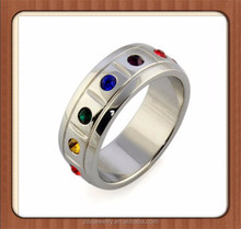 Wholesale Unisex Stainless Steel Rainbow Color Cubic Zirconia Ring