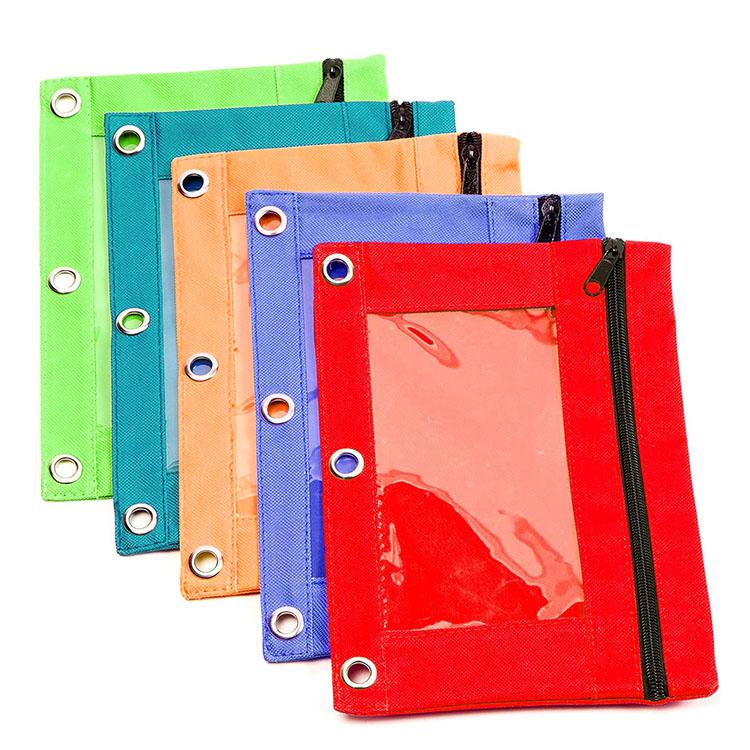 Zippered Pencil Pouch for 3 Ring Binder with Clear Window Custom Pencil Case Bag