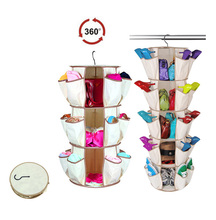 Tiered Collapsible Rotatable Multifunctional Carousel Hanging Shoe Handbag Purse Closet Storage Shelves Holder Organizer