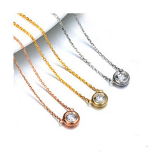 OEM Minimalist Tiny CZ Necklace April Birthstone Stainless Steel Solitiare Zircon Necklace