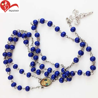 Free sample wood cross bead blue rosary beads for necklaces
