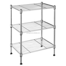 Easy Assemble NSF approval adjustable 4 tier 120kg loading household storage rack chrome metal wire kitchen shelf for wholesale