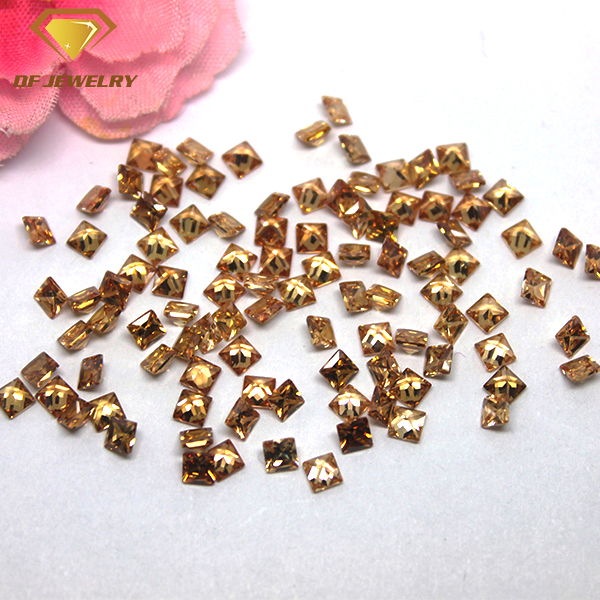 Machine Cut Square Cubic Zirconia Synthetic Champagne CZ Gemstone