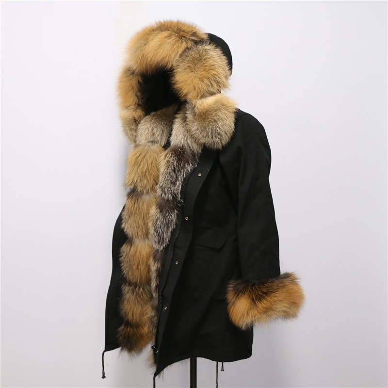 factory price new fashion genuine red fox fur long black parka