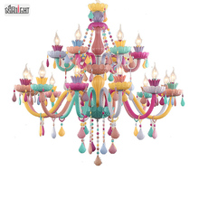 European colored candle crystal chandelier Macarons glass lighting for children's rooms and cafes