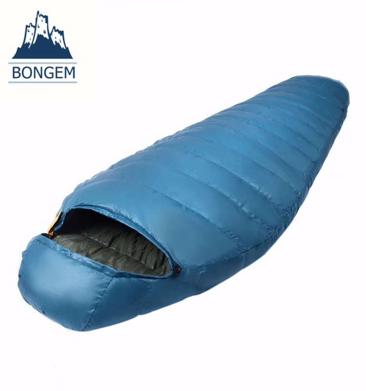 Portable outdoor camping mummy duck down sleeping bag