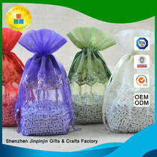 Wholesale customized beaded decoration fancy organza gift bag with logo printing