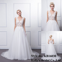 KB16030 Deep V Neck Prince Sex Prom Dress 2016 New Design/Breathable Organza Wedding Gown Embellished With Appliqued Lace Sales