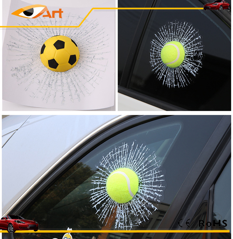 2016 New Baseball Basketball Football Hits Window Broken Glass Crack 3D Tennis Car Sticker