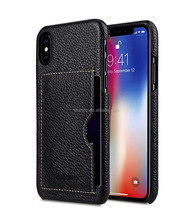 OEM Genuine Leather Black Lychee Pattern Card Slot Back Cover Phone Case Phone Cover for Iphone X