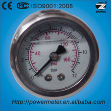 "1.5"" 40mm oil filled low pressure gauge stainless steel case back type manometer psi"
