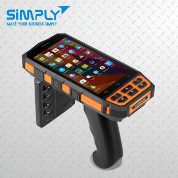 low cost 3g wireless handheld industrial android pda rfid reader writer with fingerprint 1356mhz hf vhf uhf nfc data collector
