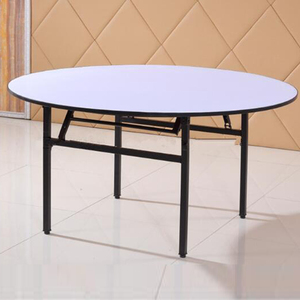Make in China durable folding wooden side restaurant round frame iron legs table