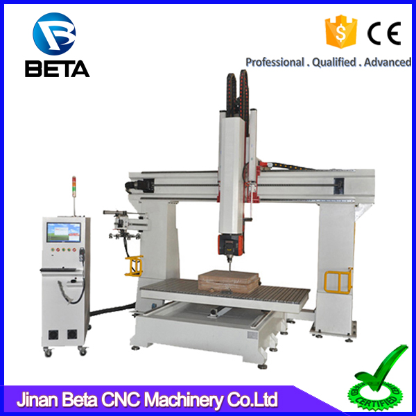 Efficient work !! 1300*2500mm 5 axis cnc wood router with Japan YASKAWA servo motor for metal mold making
