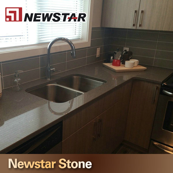 Popular Precut Brown Kitchen Sparkle Quartz Stone Countertop
