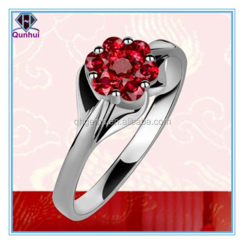 special garnet quincunx shaped cz ring jewelry
