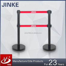 Jinke Wholesale Price High Quality Dual Belt Retractable Stanchion Subway crowd lead barrier