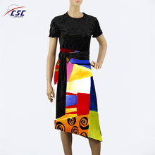 Wholesale Lady New Fashion casual printed fancy short sleeve dress