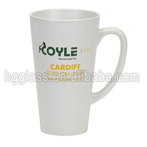 V shape ceramic coffee mug with small order and bulk item of custom logo with stoneware coffe mug