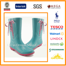 half gumboots decorative design women wellington rubber rain boots