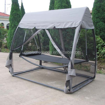 Metal outdoor swing chair bed with canopy mosquito net