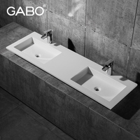 Rectangular Man-Made Stone Double Hand SInks for Compact Bathrooms