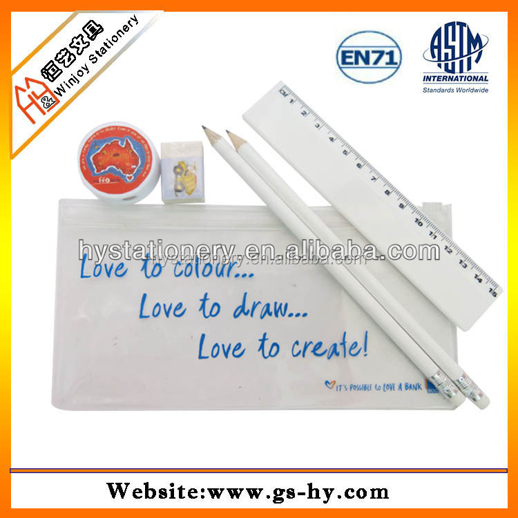 Wholesale cheap custom printed plastic transparent clear pvc pencil case