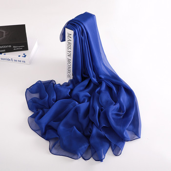 [MAISUN] High-quality cheap long shawl navy blue elegant silk shawl scarves