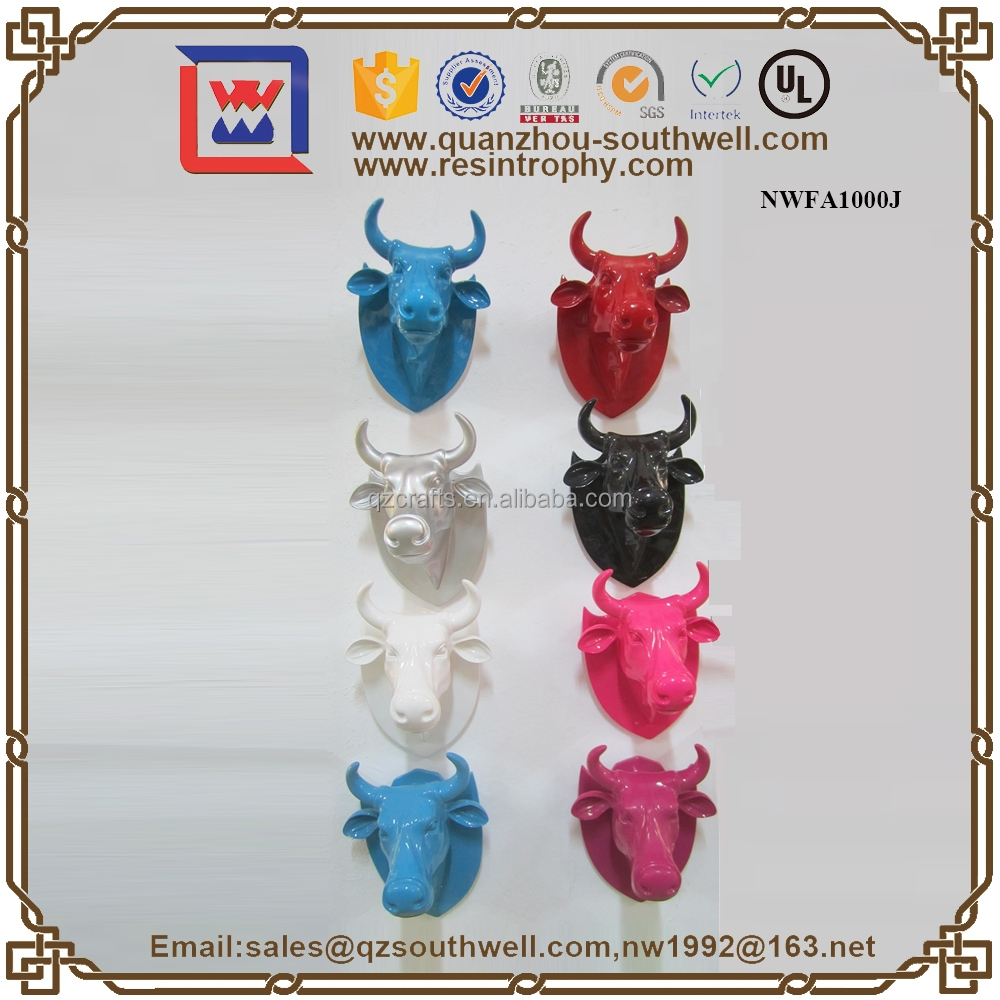 Colorful Resin Crafts Bull Head Statue Bull Figurine