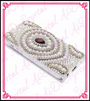 Aidocrystal handmade crystal pearls i 6 case for other mobile phone 3D luxury leather case for I 5/5s/4/4s