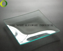 "4"" square clear ""BENT"" glass plate"