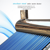 2016 stainless steel unpressurized rooftop vacuum tube solar water heater