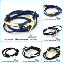 Small MOQ+Mix Designs +In Stock Can Custom logo rope leather anchor bracelet man bracelet wholesale
