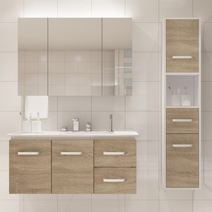 Solid wood modern bathroom vanity with single bathroom sink vanity