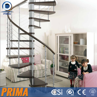 Stairs wooden china used spiral staircase with stainless steel PVC handrail