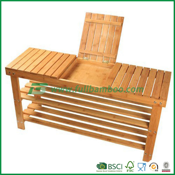 Bamboo outdoor bench with storage shelf