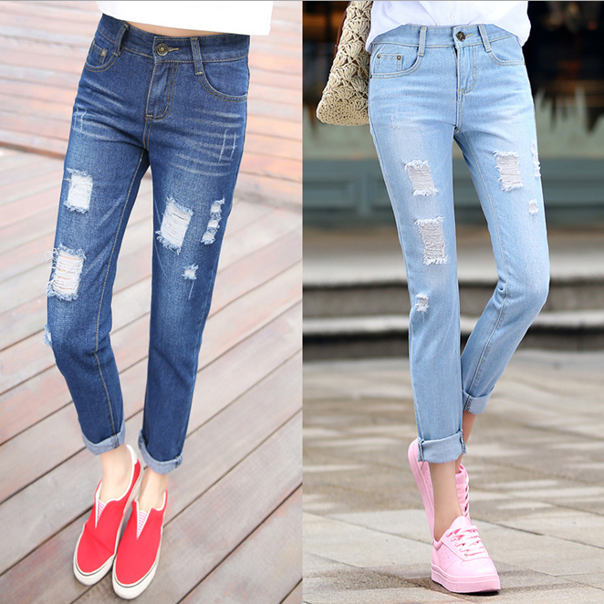 W71890G 2016 fashion denim jeans hole jeans female loose ladies jeans top design