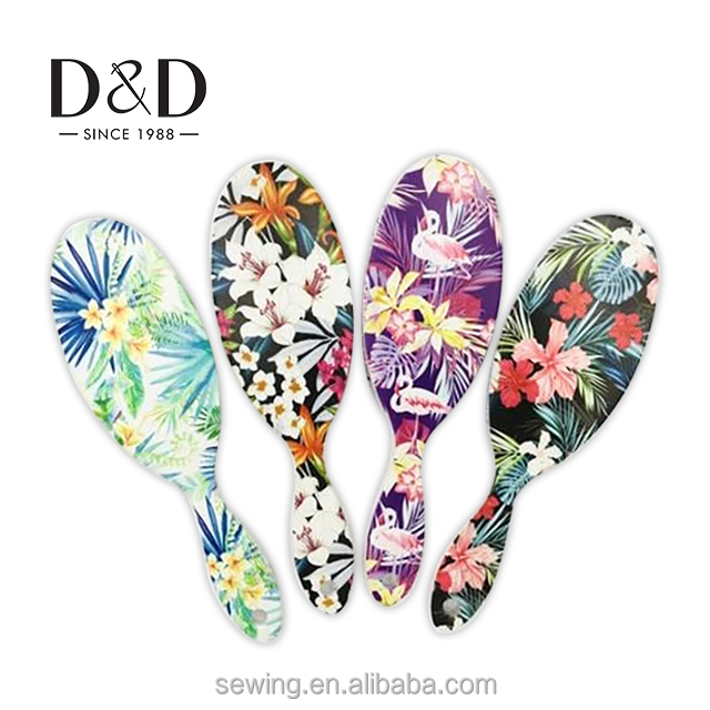 2018 new custom design professional private label hard plastic literary artistic flower patterned hair brush